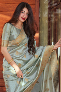 Bhelpuri Silver+Sky Blue Silk Woven Traditional Saree with Blouse Piece