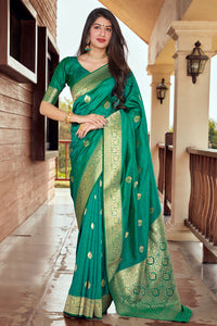 Bhelpuri Green Silk Woven Traditional Saree with Blouse Piece