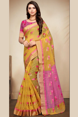 Bhelpuri Musterd Banarasi Cotton Weaving Work Traditional Saree with Blouse Piece