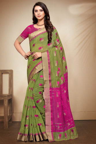 Bhelpuri Green Banarasi Cotton Weaving Work Traditional Saree with Blouse Piece