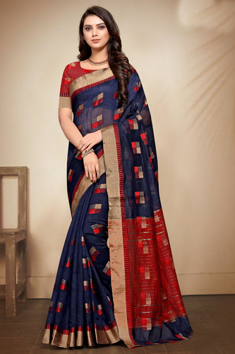 Bhelpuri Navy Blue Banarasi Cotton Weaving Work Traditional Saree with Blouse Piece