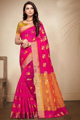 Bhelpuri Pink Banarasi Cotton Weaving Work Traditional Saree with Blouse Piece