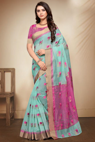 Bhelpuri Aqua Banarasi Cotton Weaving Work Traditional Saree with Blouse Piece