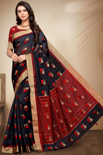 Bhelpuri Black Banarasi Cotton Weaving Work Traditional Saree with Blouse Piece