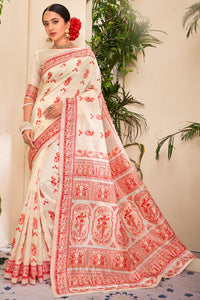 Bhelpuri Off White Jacquard Silk  Weaving With Jacquard Work Traditional Saree with Blouse Piece