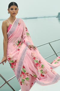 Bhelpuri Light Pink Linen Zari Digital Printed Traditional Saree with Blouse Piece