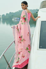 Load image into Gallery viewer, Bhelpuri Light Pink Linen Zari Digital Printed Traditional Saree with Blouse Piece