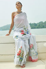 Load image into Gallery viewer, Bhelpuri Grey Linen Zari Digital Printed Traditional Saree with Blouse Piece