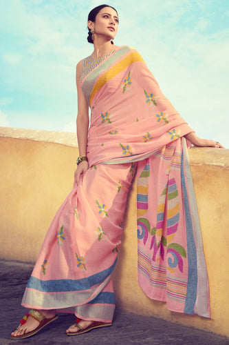 Bhelpuri Light Pink Linen Digital Printed Work Traditional Saree with Blouse Piece