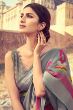 Load image into Gallery viewer, Bhelpuri Grey Linen Digital Printed Work Traditional Saree with Blouse Piece