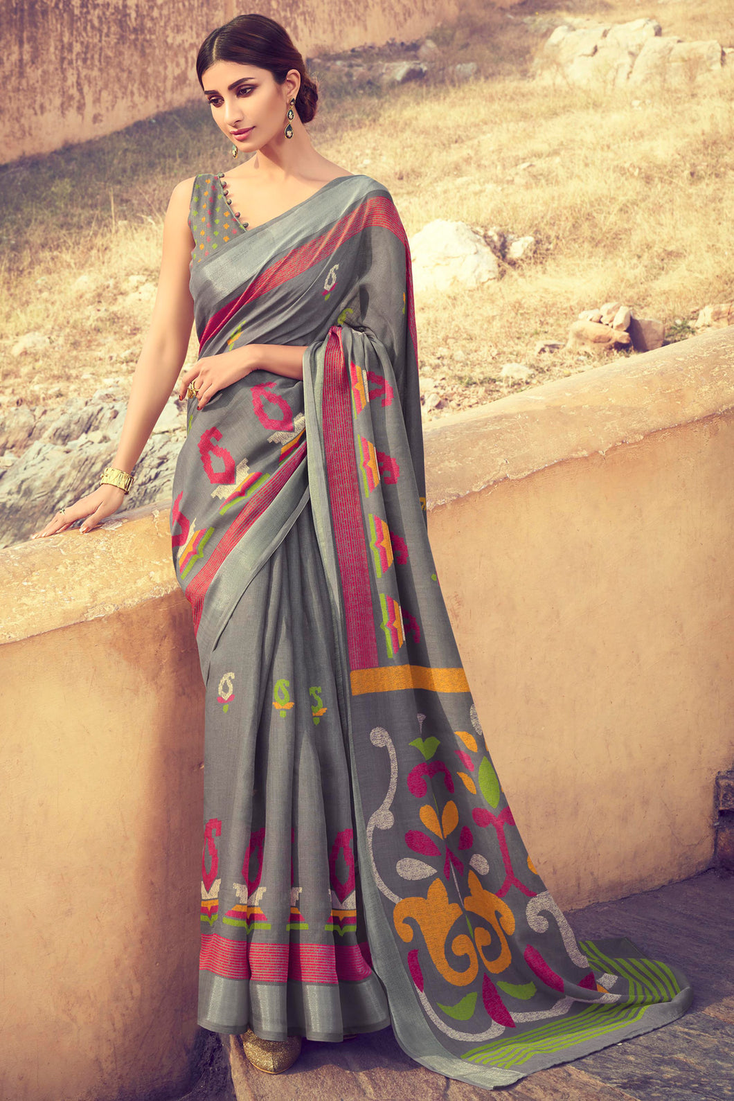 Bhelpuri Grey Linen Digital Printed Work Traditional Saree with Blouse Piece