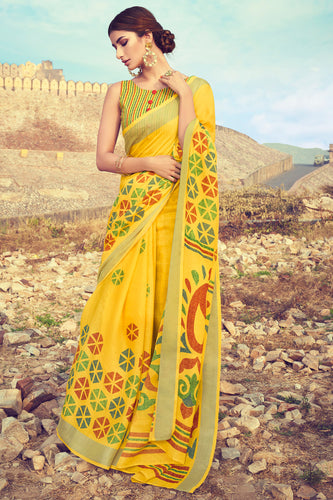 Bhelpuri Yellow Linen Digital Printed Work Traditional Saree with Blouse Piece