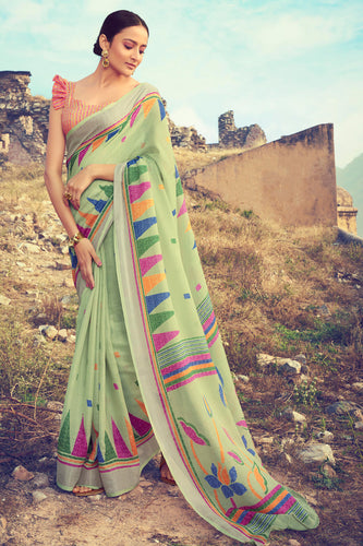 Bhelpuri Sea Green Linen Digital Printed Work Traditional Saree with Blouse Piece
