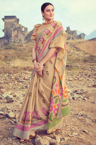 Bhelpuri Beige Linen Digital Printed Work Traditional Saree with Blouse Piece