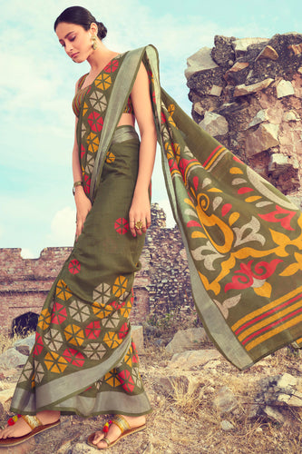 Bhelpuri Green Linen Digital Printed Work Traditional Saree with Blouse Piece