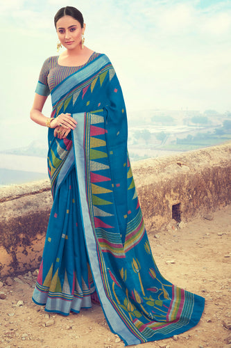 Bhelpuri Blue Linen Digital Printed Work Traditional Saree with Blouse Piece