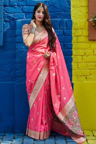 Bhelpuri Pink Silk Weaving With Jacquard Work Traditional Saree with Blouse Piece