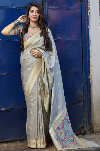 Bhelpuri Grey Silk Weaving With Jacquard Work Traditional Saree with Blouse Piece