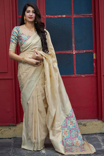 Bhelpuri Beige Silk Weaving With Jacquard Work Traditional Saree with Blouse Piece