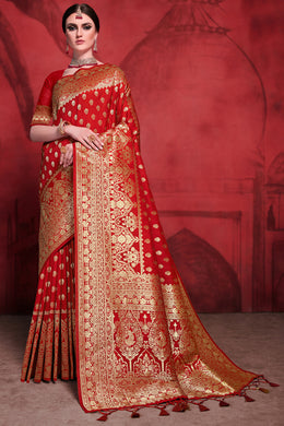 Bhelpuri Red Rich Banarasi Silk Woven Saree with Blouse Piece