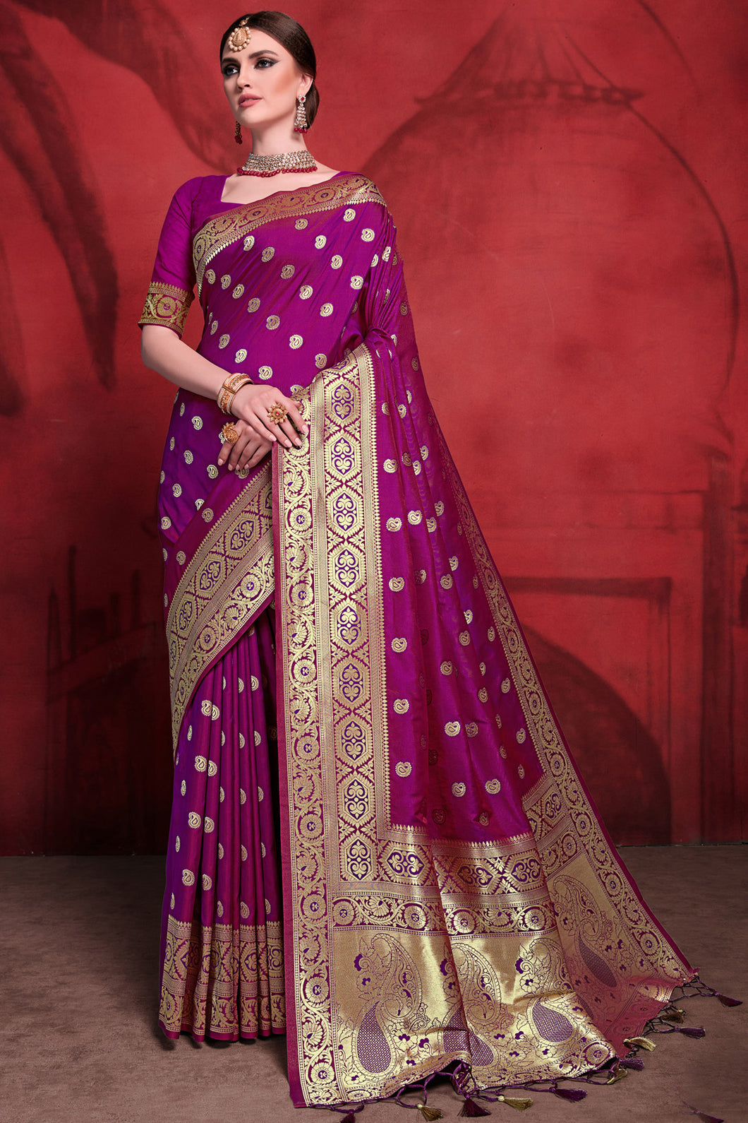 Bhelpuri Magenta Rich Banarasi Silk Woven Saree with Blouse Piece
