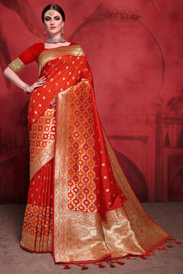 Bhelpuri Tomato Red Rich Banarasi Silk Woven Saree with Blouse Piece
