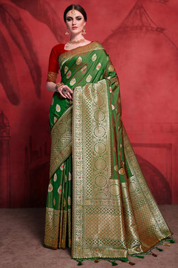 Bhelpuri Green Rich Banarasi Silk Woven Saree with Blouse Piece
