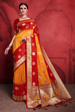 Bhelpuri Multi Rich Banarasi Silk Woven Saree with Blouse Piece