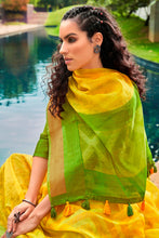 Load image into Gallery viewer, Bhelpuri Yellow Cotton Printed Traditional Saree with Blouse Piece