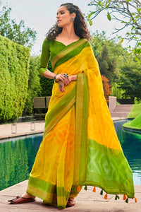 Bhelpuri Yellow Cotton Printed Traditional Saree with Blouse Piece