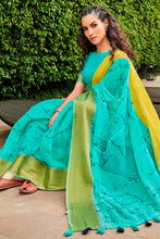 Load image into Gallery viewer, Bhelpuri Sky Blue Cotton Printed Traditional Saree with Blouse Piece