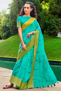 Bhelpuri Sky Blue Cotton Printed Traditional Saree with Blouse Piece