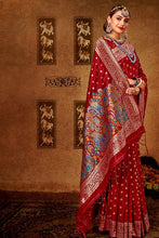 Load image into Gallery viewer, Bhelpuri Maroon Banarasi Silk Woven Traditional Saree with Blouse Piece