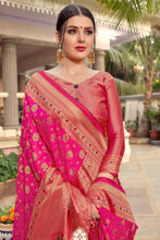 Load image into Gallery viewer, Bhelpuri Rani Pink Silk Rich Pallu & Heavy Zari Work Traditional Saree with Blouse Piece