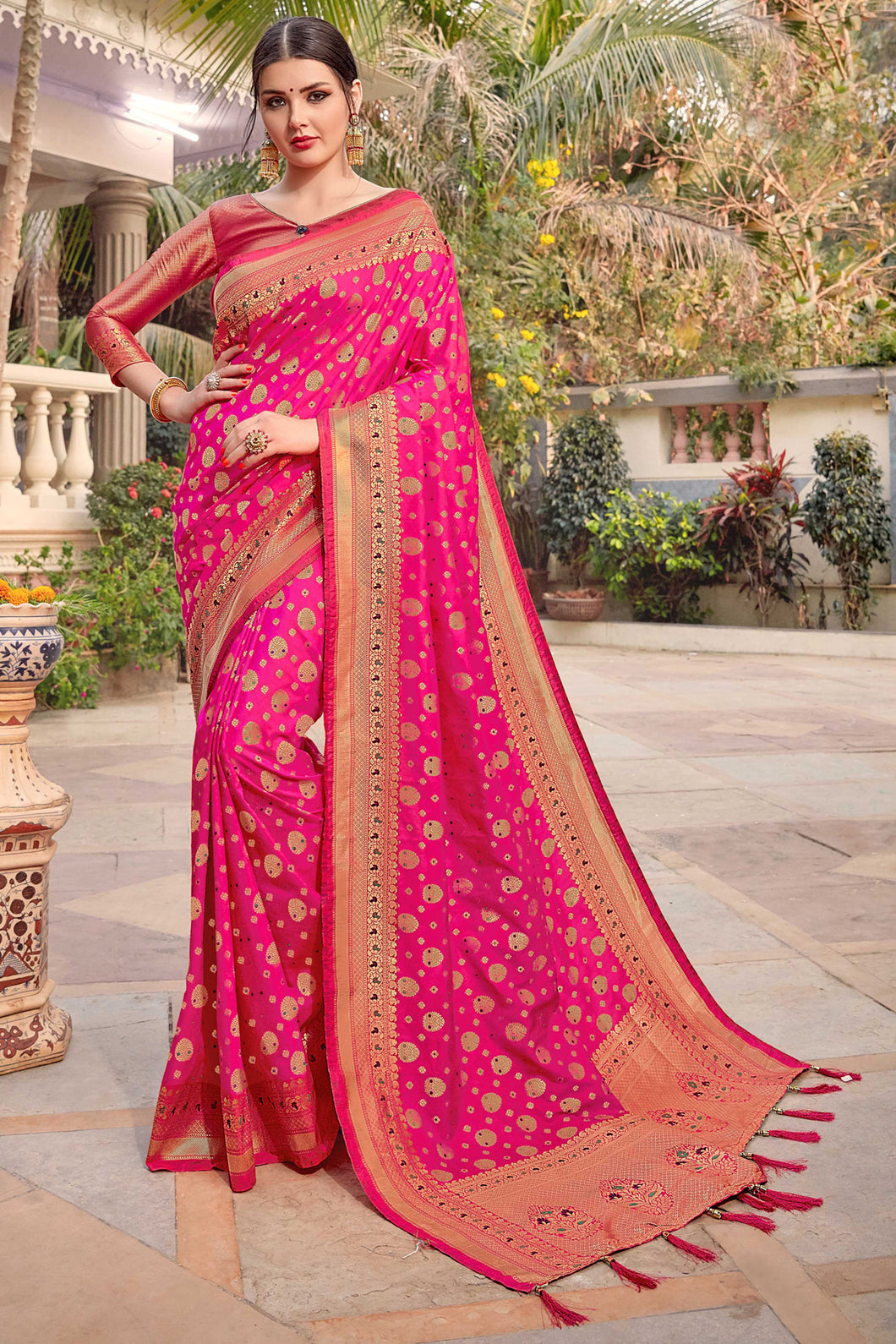 Bhelpuri Rani Pink Silk Rich Pallu & Heavy Zari Work Traditional Saree with Blouse Piece