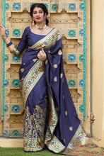 Load image into Gallery viewer, Bhelpuri Navy Blue Soft Silk Jacquard Work Traditional Saree with Blouse Piece
