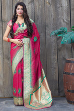 Load image into Gallery viewer, Bhelpuri Pink Soft Silk Jacquard Work Traditional Saree with Blouse Piece