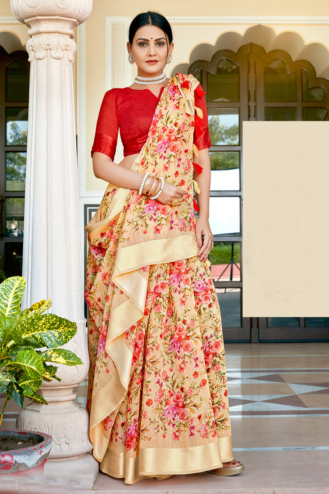 Bhelpuri Cream Cotton Printed Traditional Saree with Blouse Piece