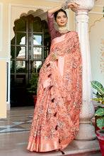 Load image into Gallery viewer, Bhelpuri Peach Cotton Printed Traditional Saree with Blouse Piece
