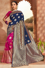 Load image into Gallery viewer, Bhelpuri Navy Blue & Rani Pink Jacquard Silk Paithani With Jacquard Work Traditional Saree with Blouse Piece