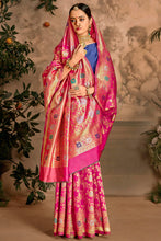 Load image into Gallery viewer, Bhelpuri Rani Pink Art Silk Woven Traditional Saree with Blouse Piece