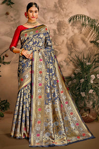 Bhelpuri Blue Art Silk Woven Traditional Saree with Blouse Piece