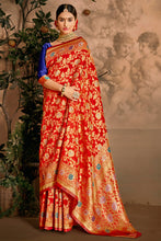 Load image into Gallery viewer, Bhelpuri Red Art Silk Woven Traditional Saree with Blouse Piece