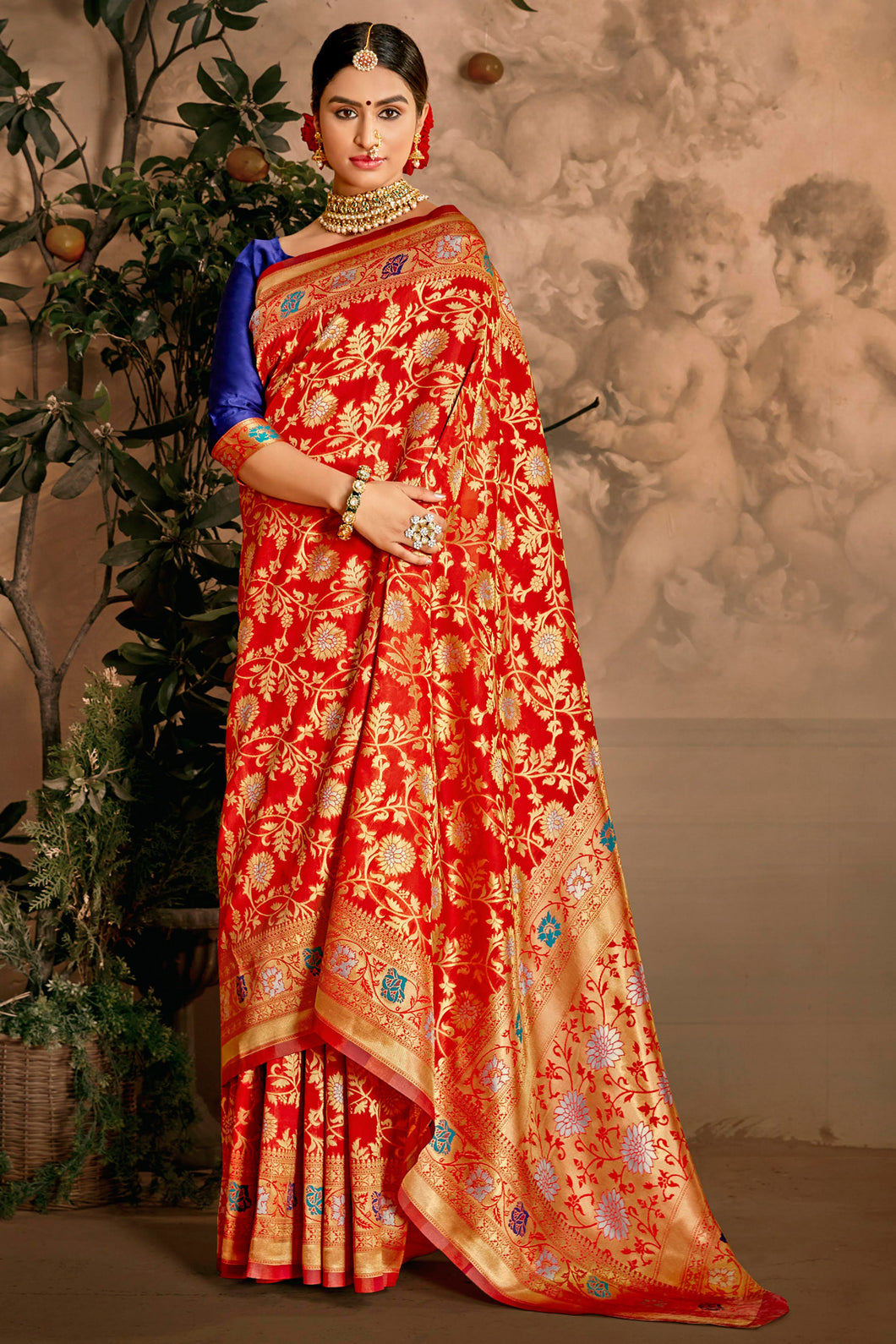 Bhelpuri Red Art Silk Woven Traditional Saree with Blouse Piece