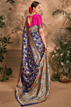 Load image into Gallery viewer, Bhelpuri Blue Art Silk Woven Traditional Saree with Blouse Piece