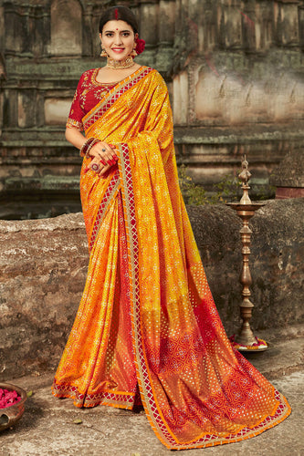Bhelpuri Yellow Dola Silk Embroiderd Traditional Saree with Blouse Piece