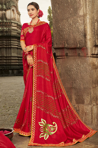 Bhelpuri Red Dola Silk Embroiderd Traditional Saree with Blouse Piece