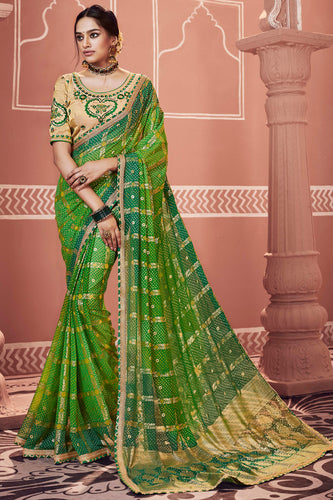 Bhelpuri Green Dola Silk Embroiderd Traditional Saree with Blouse Piece