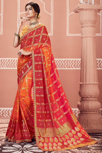 Bhelpuri Multi Dola Silk Embroiderd Traditional Saree with Blouse Piece