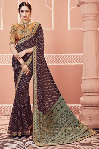 Bhelpuri Brown Dola Silk Embroiderd Traditional Saree with Blouse Piece